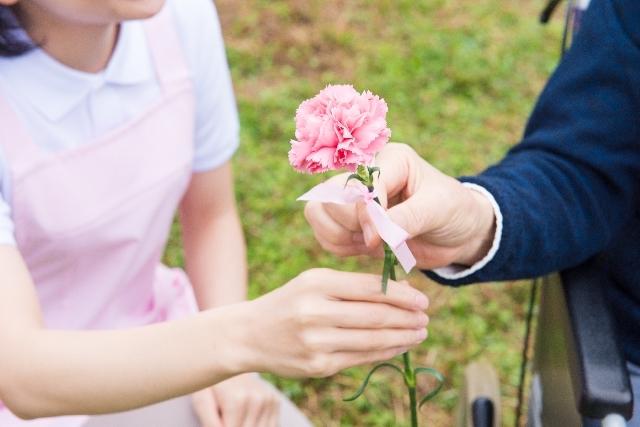 花を渡す車椅子の男性2|写真素材なら「写真AC」無料(フリー)ダウンロードOK