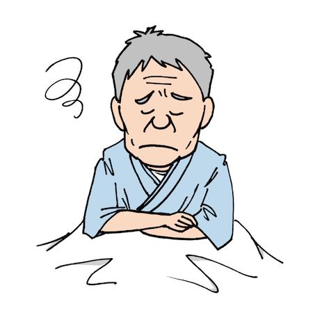 ベッドで下を向いて悩んでいる入院患者男性★医療素材 | 無料イラスト配布サイトマンガトップ