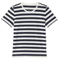 オーガニックコットンクルーネック半袖Tシャツ(ボーダー) 婦人M・白×ダークネイビー | 無印良品ネットストア | SS 2016 | Pinterest
