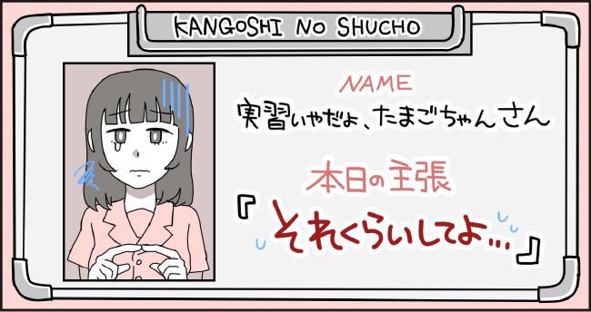 KANGOSHI NO SHUCHO NAME 実習いやだよたまごちゃん さん 本日の主張 「それくらいしてよ・・・」