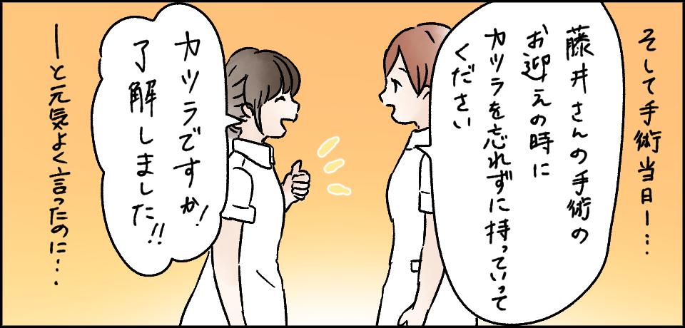 そして手術当日・・・「藤井さんの手術のお迎えの時にカツラを必ず持って行ってください」「カツラですか!了解しました!!」ーと元気よく言ったのに・・・