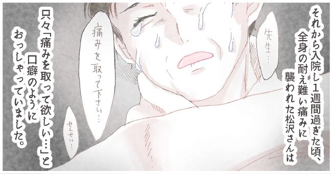 それから入院し1週間過ぎた頃、全身の耐え難い痛みに襲われた松沢さんは「先生・・・」「痛みを取って下さい・・・」「先生・・・」只々「痛みをとって欲しい・・・」と口癖のようにおっしゃっていました。