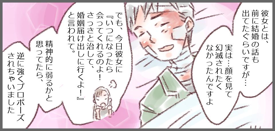 島田さん「あ、もう彼女は入ってもOKでお願いします。実は…顔を見て幻滅されたくなかったんですよ。実は結婚の話も出てたぐらいで。でも、今日彼女に『いつになったら会ってくれるのよ!さっさと治して、婚姻届け出しに行くよ!』と言われて。精神的に弱るかと思ってたら、逆に強くプロポーズされちゃいました(笑)」