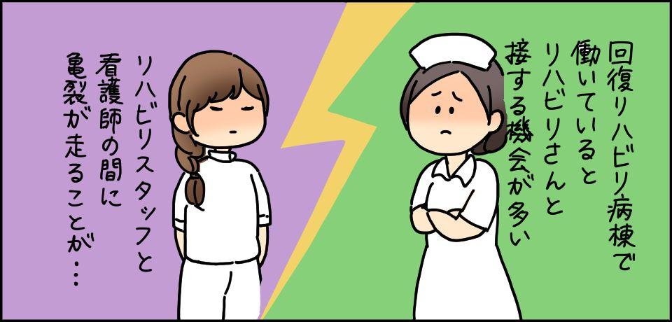 回復リハビリ病棟で働いているとリハビリさんと接する機会が多い リハビリスタッフと看護師の間に亀裂が走ることが・・・