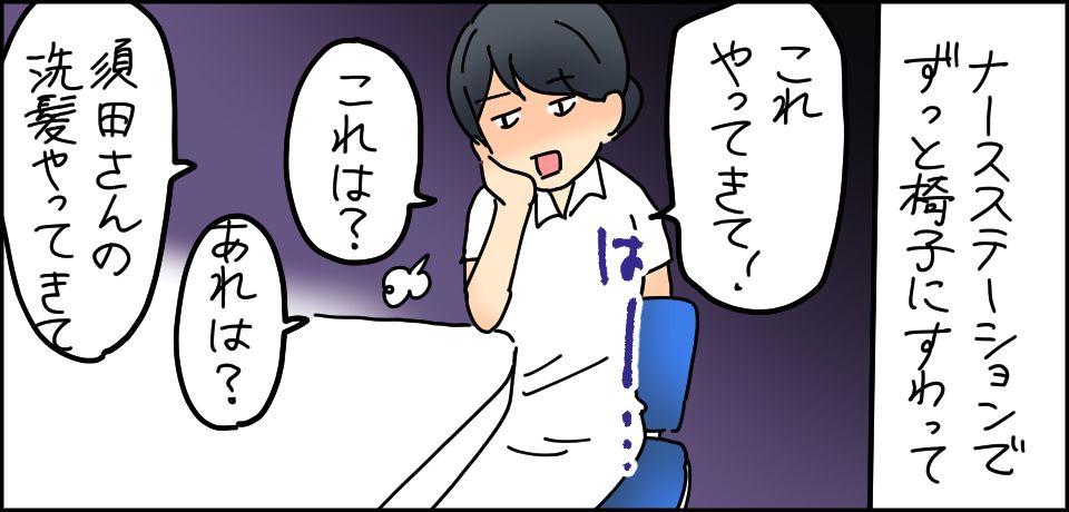 ナースステーションでずっと椅子にすわって「これやってきて!」「これは?」「あれは?」「須田さんの洗髪やってきて」